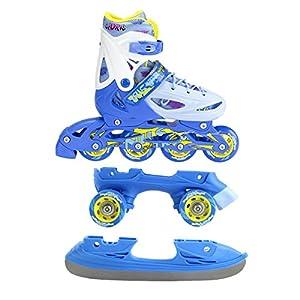 Nils Inline Skates Kinder Inliner 3in1 | Verstellbare Schlittschuhe Rollschuhe Größenverstellbar | Pink- Blau –Gelb | Größen 27-38