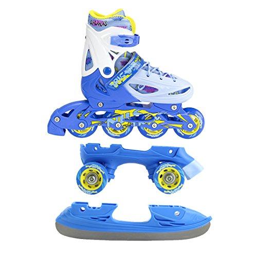 Inline Skates Kinder | NILS| Inliner 3in1 | Verstellbare Schlittschuhe Rollschuhe Größenverstellbar | Pink- Blau –Gelb | Größen 27-38...