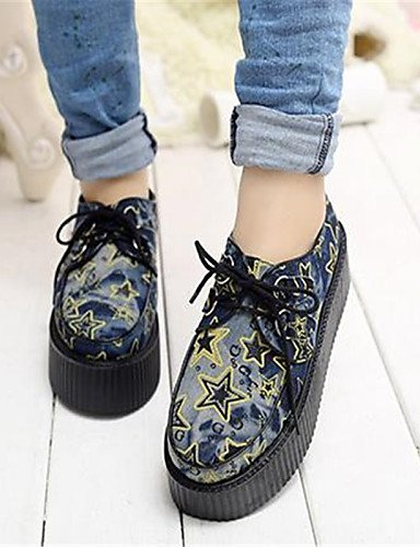 ZQ Scarpe Donna - Stringate - Casual - Creepers / Punta arrotondata - Plateau - Denim - Blu , blue-us8 / eu39 / uk6 / cn39 , blue-us8 / eu39 / uk6 / cn39 blue-us7.5 / eu38 / uk5.5 / cn38