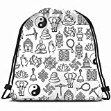 Buddhism Zen Meditation Religious Background Religion Drawstring Backpack Gym Sack Lightweight Bag Water Resistant Gym Backpack for Women&Men for Sports,Travelling,Hiking,Camping,Shopping Yoga