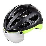 KING BIKE Fahrradhelm mit Abnehmbaren Schutzbrille Schild Visier Damen Herren UV400 Schutz Kann über die Brille 53-59cm(Grün)