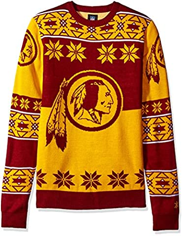 NFL WASHINGTON REDSKINS Unisex NFL Big Logo Ugly Crew Neck Sweater, Medium