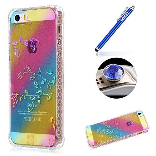 iPhone 5/5S/SE TPU Coque, Étui iPhone 5S Housse de Transparent, Etui iPhone SE Silicone Coque de téléphone mobile, ETSUE Créativité Luxe Belle Bling Briller Glitter Couleurs éclat(ne pas disparaître)  Arbre Branche