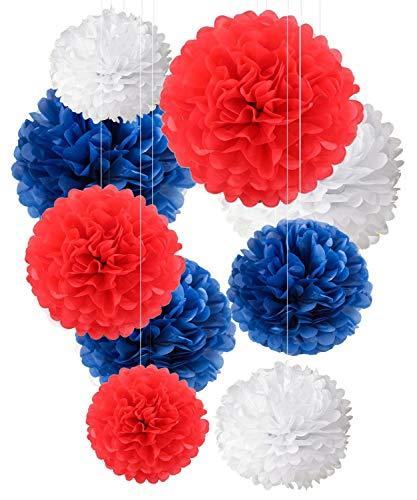 hängendes Seidenpapier in Rot, Weiß und Marineblau für Ihre 4. Juli Party 9 Stck. 10, 12 und 14 Zoll wiederverwendbarer Dekor für Hochzeit, Geburtstag ()