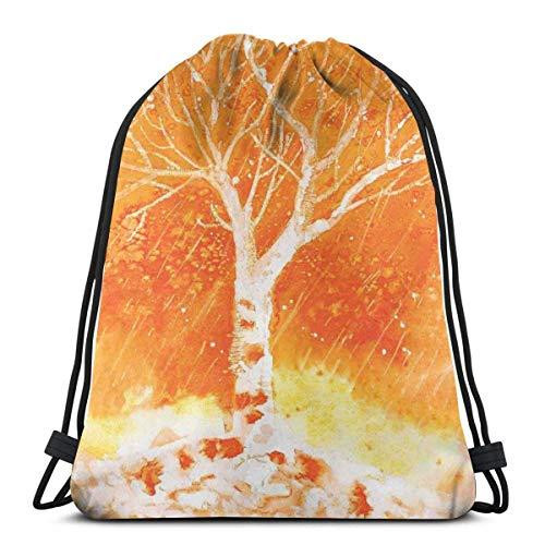Kordelzug-Rucksack-Unisextasche für das Turnhallen-Reisen, trübe ursprüngliche Hand gezeichnete Malerei mit Birken und Regen lässt dunstigen Lebensraum Fallen