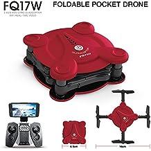 FQ777 FQ17W 6-Axis Gyro Mini Wifi Vista En Primera Persona Plegable G-Sensor Pocket Drone Con Cámara De 0.3MP Altitude Hold RC Quad-Copter,Red