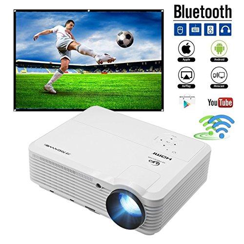 LCD Projektor Full HD Android 6.0 Videobeamer WIFI Bluetooth 3600 Lumen 4500:1 Kontrast unterstützt 1080p HD 720p Full HD Heimkino LED Beamer mit HDMI VGA USB TV kompatibel mit Android - Eingebaute Smart-tv Dvd-player Mit