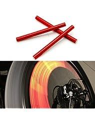 kalaixing Marke Fahrrad Rad Speichen Reflektor reflektierende Sicherheit Fahrrad Bike Rad Felge Mount Clip Tube Warnung Streifen–Rot