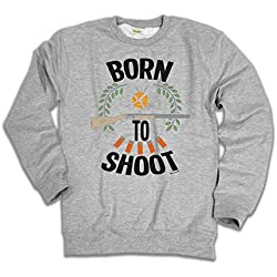Buzz Shirts Born To Shoot Clay Pigeon Shooting Elija Sudadera con Capucha o suéter Hombres Mujer Unisex
