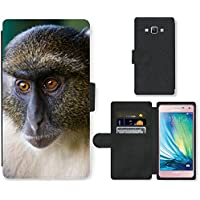 Super Galaxy Cell Phone Card Slot PU Leather Wallet Case // V00003899 sykes monkey mount kenya // Samsung Galaxy A5 (not fit S5)