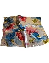 Vintage Elegant Ladies fashion 50cm Square Head / Neck Uniform Scarf Flower floral print silk satin feel - by Fat-Catz-copy-catz