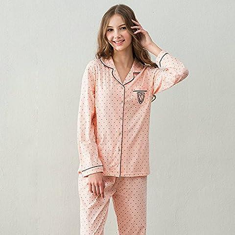 DMMSS Paare Schlafanzug Baumwolle V-Ausschnitt Langarm-d¨¹nnen Schlafanzug Set , 1 , m (Weiche Womens Chemise)