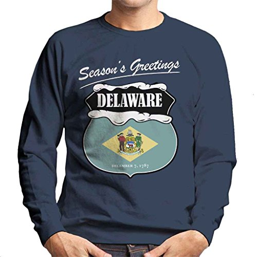 Seasons Greetings Delaware State Flag Christmas Men's Sweatshirt (Delaware Klassischen Sweatshirt)