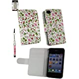 Emartbuy ® Sparkling Stylus Pack Für Apple Iphone 4S 4G 4Gs Hd Luxury Wallet Case / Cover / Pouch Floral Pink / Grün Mit CRotit Card Slots + Sparkling Mini Hot Pink Stylus + Lcd Screen Protector