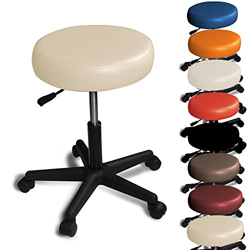 Rollhocker  Barhocker - mit Rollen - höhenverstellbar - viele Farben - 360° drehbar - Arbeitshocker - Praxishocker Beige