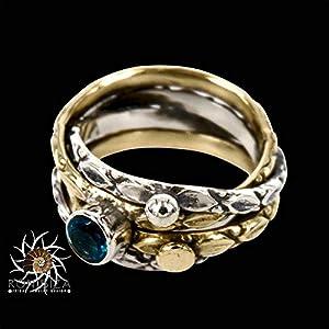 925 Sterlingsilberring, besetzt mit Messingelementen und blauem Topas-Edelstein – Statement-Ring – Stapelring…