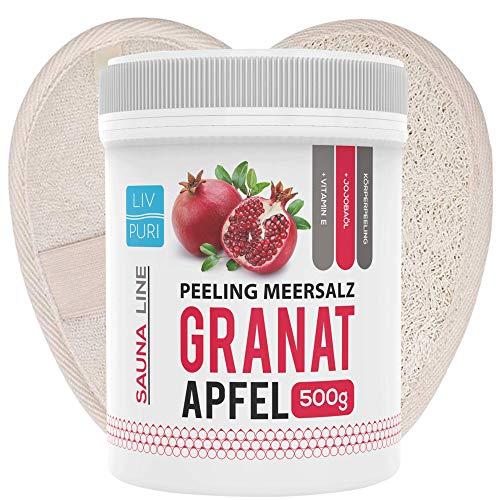 Saunasalz Granatapfel mit Luffa-Pad ideale als Geschenkeset