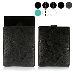 MediaDevil iPad 2 / 3 / 4 Leather Case (Black with Black stitching) - Artisanpouch Genuine European Leather Pouch Case with Pull-Tab