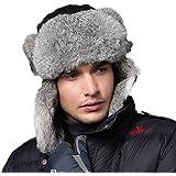 Kenmont Men Black Snowboard Pokemon Rabbit Fur Russia Trapper Aviator Bomber Hat Ski Cap