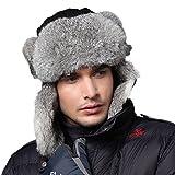 Kenmont Uomo Nero Snowboard Naturale Coniglio in pelliccia Russia Trapper Aviatore bombardiere del cappello dello sci (L-59.5cm (23.43inches))