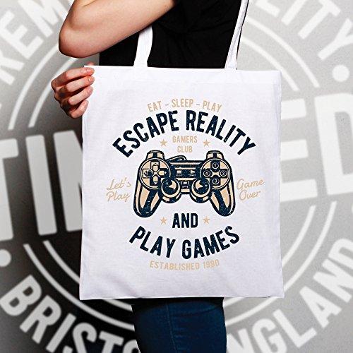 Gamer Sacchetto Di Tote Sfuggire alla realtà e giocare Gaming Deterioramento, Design, White