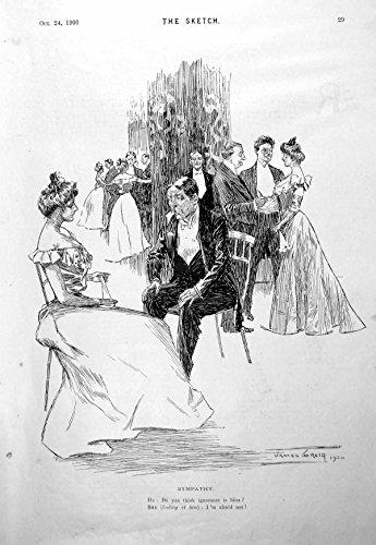 Alte Ursprüngliche Antike Viktorianische Druck-Paare Setzten die Plaudernden Ballkleider, die...