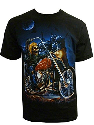 Herren American Ghost Rider Motorrad Biker T-Shirt Live to Ride Gr. Medium, schwarz