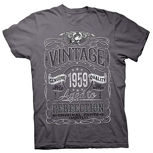 751c69a0e6 Doormat-bag 60th Birthday Gift Shirt - Vintage Aged to Perfection 1959 -  Distressed Charcoal