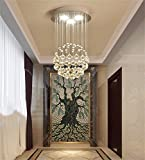 Moderne minimalistische Kronleuchter Kristall Wendeltreppe, die Schlafzimmer Duplex Wärme Bekleidungsgeschäft Korridor Kronleuchter Lounge Restaurant, 40 * 40 * 60cm (4W/LED * 4)