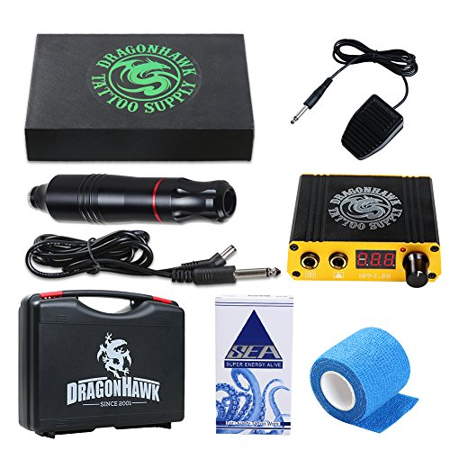 Dragonhawk Cartridge Tattoo Machine Kit Pen Rotary Tattoo Machine Needles Power Supply for Tattoo Artists