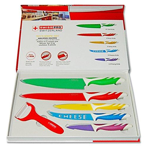 Swiss PRO Set Juego de 5 cuchillos de acero...
