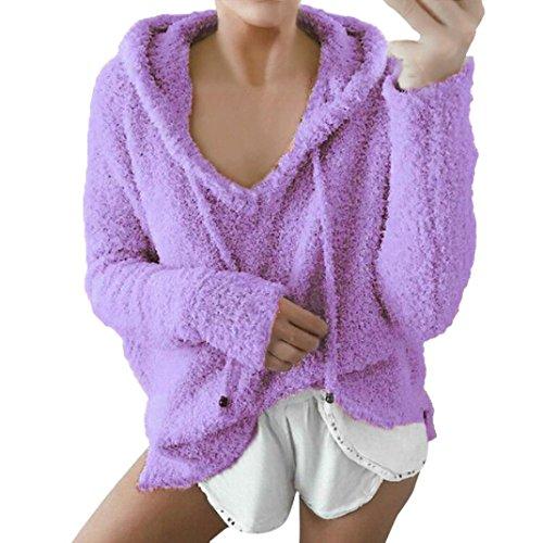 Damen Basic Einfach v Pullover CLOOM T-shirt Cardigan Sporthemden elegante Tunika Hemden Pullunder Outwear College Strickjacke Freizeit Pulli plüsch Langarmshirts kapuzenpullover (Lila, L) (Tee Sleeve Long College)