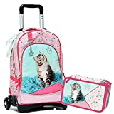 Rachael Hale Schoolpack Gatto - Mochila con ruedas desmontable + estuche con 3...