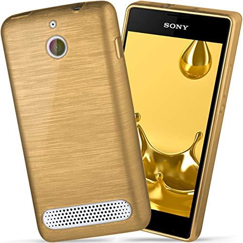 moex Sony Xperia E1   Hülle Silikon Gold Brushed Back-Cover TPU Schutzhülle Ultra-Slim Handyhülle für Sony Xperia E1/E1 Dual Case Dünn Silikonhülle Rückseite Tasche