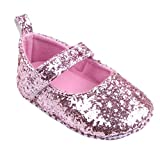 Tefamore Toddler Girl Soft Sole Crib Chaussures Sequins Sneaker (11/Age:0~6 Month, rose)
