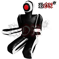 ROX Fit Passform MMA Judo Boxsack Grappling Dummy - Sitzposition, Submission Stil, Double Face, MMA Dummy, Stanz BJJ Training Bag 5 ft & 6 ft Schwarz/Weiß (ungefüllt)