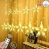 12 Sterne LED Lichtervorhang Lichterkette im Innen/Außen, Niederspannung Sternenvorhang warmweiß, wasserdicht IP65, 8 Fernbedienung Leuchtmodi, Weihnachtsdeko Fenster Garten (2.2x1M)