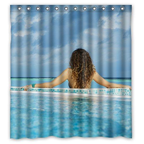 Nice Scenic ungewöhnlichen Bild Scenery Design Sea Oceans blau Wasserdicht Duschvorhang aus Stoff, 167,6x 182,9cm, Fleece, J, 66