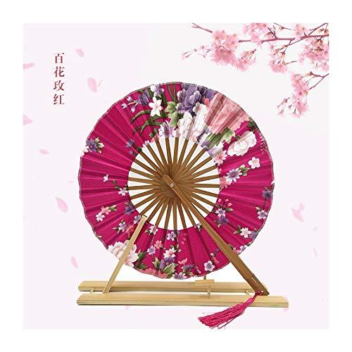JUNHONGZHANG 2PCS Faltbarer Ventilator Windradlüfter Cherry Blossom Japanischer Geschenkfächer (21Cm), FC- Rose Rot