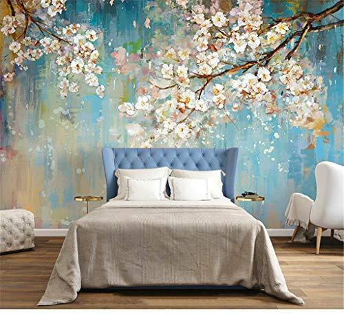 Murale pittura a olio 3d fiore carta da parati soggiorno tv sfondo muro camera da letto rivestimento murale fai da te sticker art 400 (w) x280 (h) cm seta (dimensioni personalizzabili)