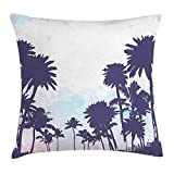 Apartment Decor Throw Pillow Cushion Cover, Miami South American Plant Forest Tropic Natural Palm Trees Art Print, Decorative Square Accent Pillow Case, 18 X 18 Inches, Blue and White