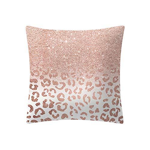 Yazidan Rose Gold Rosa Kissenbezug Platz Haus Dekoration Mikrofaser Einfache Farbe Protektoren Vier Jahreszeiten Werfen Abdeckungen Shell Dekorativ FröHliche Weihnachten 45cmx45cm (A)