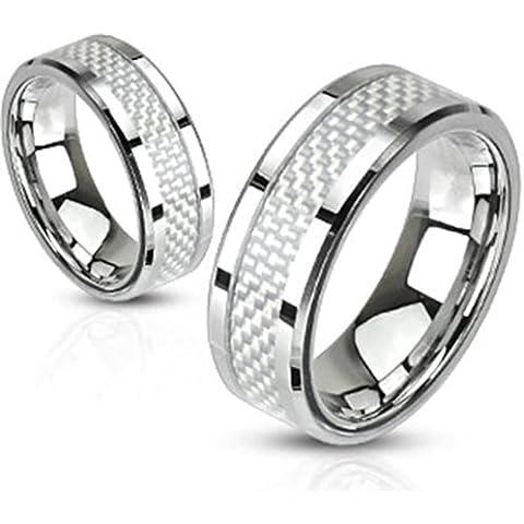 Paula & Fritz acero inoxidable Anillo Plata con fibra de carbono incrustaciones disponibles anillo tamaños
