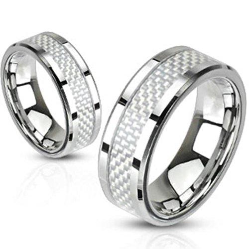 Paula & anello in acciaio inox argento in fibra di carbonio Fritz decorativa argento disponibile anello misure 47 (15) - 72 (23), Acciaio inossidabile, 26, cod.