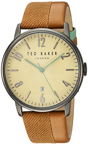 Ted Baker Men's 'DANIEL' Quartz Stainless Steel and Leather Dress Watch, Color:Brown (Model: 10031573)