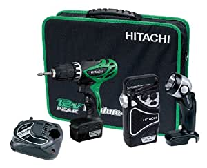 Ensemble valise Hitachi perceuse visseuse KC 10DHL, 10,8V, 1,5 Ah, mandrin 10 mm + radio + lampe