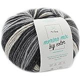 Wolle Farbverlauf * 1 Knäuel Merino Mix big Color classic (Fb 5000) * Effektwolle 100g/150 m + GRATIS Label – Wolle mit Farbverlauf Nadelstärke 6-7 mm – Wolle schwarz weiß MyOma