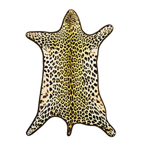 Yardwe Alfombra Estampado de Piel de Leopardo Sintética para Decoración Dormitorio Salón Baño Sofá Cama y Silla