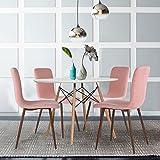 4er Stuhl-Set Esszimmerstühle Coavas Stoff Kissen Küche Stühle mit Soliden Metall-beinen für Esszimmer, Rosa - 2