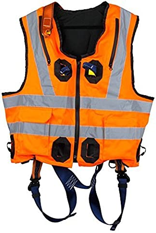 G-Force Orange Hi Viz Elasticated Full Body Height Safety Fall Arrest Harness Jacket With Quick Release Buckles M-XL
